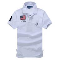 polo blau navy großhandel-Small Horse Solid Polo Shirt Neu Kurzarm Sommer Baumwolle Herren Womens National Flag Shirt Größe Navy Blue