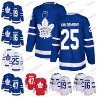 lupul hockey jersey джерси оптовых-2019 Toronto Maple Leafs 16 Mitchell Marner 19 Joffrey Lupul 47 Leo Komarov 25 James Van Riemsdyk Хоккейные Майки Мужчины Женщины Молодежь