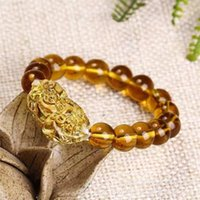 perlen armband preisgestaltung großhandel-Großhandelspreis Mode Feng Shui Gelb Pi Yao Pi Xiu Armband Perle für Reichtum Glück 10mm