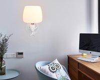 appliques murales pour enfants achat en gros de-Chevet nouvelle étude dessin animé animal garçon fille enfants chambre led lampe chambre lampe créative lampe murale