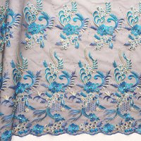 Wholesale wholesale beaded wedding dresses for sale - New Beaded Lace Fabric Teal Wedding Dress Luxury Lace Fabric Turquoise Blue African Latest Net Lace Fabrics High Quality