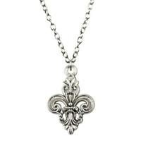 fleur lis schmuckanhänger großhandel-WYSIWYG 5 Stücke Metall Kette Halsketten Anhänger Frauen Halskette Schmuck Fleur De Lis 25x16mm N2-B13022