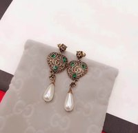 Wholesale Brass Gold Beads - 2018 Brand name drop earring with diamond and Pearl beads stud Earring 18k gold plated dangle for women top quality jewelry PS6677