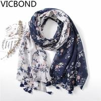 ingrosso sciarpa bianca sottile-nuova sciarpa estiva retrò in cotone e lino con motivo floreale a fiori stampato blu navy bianco a contrasto con sciarpe in nappa a mano
