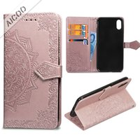 Wholesale flower flip leather pu wallet for sale - Datura Flowers Printing Wallet Case With Card Slot Strap Stand Flip Cover For iPhone For iPhone XR XS XS Max X Plus Samsung Note OPP