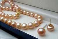 ingrosso orecchino rosa della collana della perla-set di 9-10mm south sea round gold pink pearl necklace earring 14k