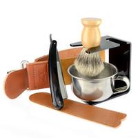 ingrosso pennelli in pelle d'oro-Rasoio oro Dollaro Best Badger Pennello da barba Ciotola di Sapone Barber Leather Affilare Strop Strap Men Shave Beard Set