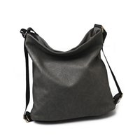 dual zipper UK - Lady Handbag Large Capacity Vintage Classic Dual-use Women Shoulder Bag Female Bucket Bag PU Soft Leather Crossbody