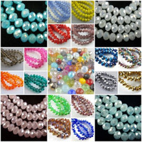 Wholesale crystal glass faceted stones - 4 6 8 10mm Glass Crystal Faceted Rondelle Spacer Loose Beads Jewelry Craft Suplies Arts and Crafts Home Room Decor as Gifts