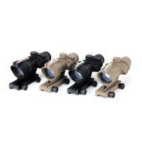 telescópios ópticos venda por atacado-Tactical ACOG Estilo 1x32 Caça Riflescopes Vistas de Pontos Vermelhos ou Verdes Reais Fibra Óptica M16 Rifle Scope Óptico Fit Picatinny Trilho