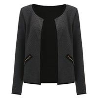 artı kısa kollu hırka toptan satış-Marka Yeni Artı Boyutu Cepler Hırka Ceketler Sonbahar Uzun Kollu Yakasız Açık Dikiş Ekose Kısa Ceket Zarif Ceketler