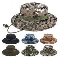 Wholesale mens military caps resale online - Foldable Cotton Boonie Hat Sport Camouflage Jungle Military Cap Adults Mens Womens Cowboy Hats For Fishing Packable Army Bucket Caps