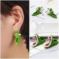 Wholesale 3d ear studs for sale - Group buy 3D Alligator Polymer Clay Earrings Handmade Biting Your Ear Animal Polymer Clay Stud Earrings For Girls Women Christmas Gift D444L