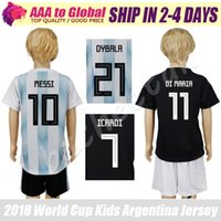 Wholesale messi jersey kids - kids Messi Jersey 18 camisa de futebol Higuain Kun Aguero Dybala children Di Maria football shirts 2019 boys Lionel Messi uniforms