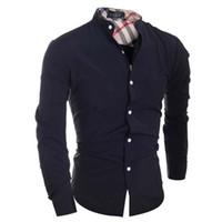 чёрный цвет воротник рубашка оптовых-Men Shirt  Camisa Masculina 2018 Male High Quality Long Sleeve Shirts Casual Hit Color Slim Fit Black Man Dress Shirts
