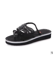 Wholesale red band clips - free shipping summer women's Europe beach sandals feminina clip toe flat bottom shoes ladies fashion sandals