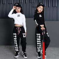 caz hip hop dans pantolonları toptan satış-Kızlar Serin Pamuk Balo Salonu Caz Hip Hop Dans Yarışması Kostüm Kırpma Üstleri Gömlek Pantolon Çocuklar için Dans Giyim Giysi Giymek