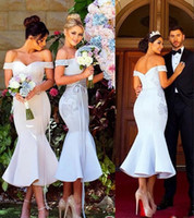 Wholesale prom dresses modest back for sale - Group buy Modest Tea Length Mermaid Bridesmaids Dresses Off Shoulder Open Back High Appliques Short Country Maid Of Honor Party Prom Gowns Cheap