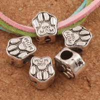 Wholesale Moms Hole - Dog Mom Foot Print Metal Big Hole Beads 85pcs lot 10x11.2x7 mm Tibetan Silver Fit European Charm Bracelet L1306
