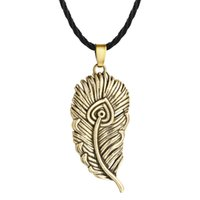 Wholesale mens feather pendant necklace resale online - 5pcs Fire bird s Feather Pendant Necklace Silver Ancient Bird Feather Shape Charm Norse Slavic Colier Male Mens Boys Jewelry