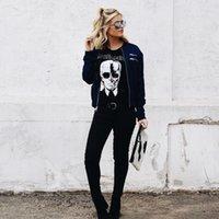 esqueleto zumbi venda por atacado-Tops das mulheres Da Marca de Moda Camisas New Cool Esqueleto Cabeça Impresso Tee Em Preto Zombie Crânio Do Punk Rock Camisas de Algodão mulheres