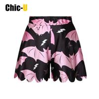 ingrosso gonna di grandi ragazze nere-pantaloncini donna pantaloncini estivi in cotone nero con pipistrello rosa fumetto moda carina a vita alta per ragazza taglia grande