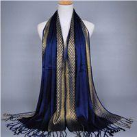 Wholesale printed pashmina shawl tassels for sale - Group buy Women Scarf Gold thread Fashion Print Glitter Tassel Cotton Lurex Plaid Stripe Shawls Scarves Long Hijab Muslim Scarf Colors