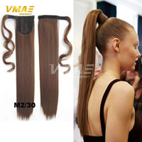 Wholesale long fake ponytail for sale - Women Natural Straight Clip In Ponytails Fashion Fake Hair quot quot cm Long Magic Paste Synthetic Ponytail Hair Free DHL Fast Shipping