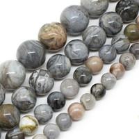 cuentas sueltas de bambú al por mayor-8mm Natural Bamboo Agata Onyx Round Loose Beads para la fabricación de la joyería 15.5 pulgadas / strand Pick Size 6/8/10 / 12mm DIY pulsera