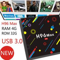 Wholesale Ddr3 Cpu - H96 Pro Max H2 Rk3328 Cpu Quad Core Ram 4G ROM 32G eMMC Storage DDR3 Android 7.1 Dual Wifi 2.4G 5G HDMI Bluetooth 4.0 USB 3.0 4K UCD KD DHL