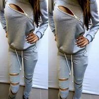 Wholesale grey jogging suit resale online - Designer Tracksuit Grey Zipper Hoodie Tops Pants Women Two Piece Outfits Gradient Jogging Suit Sportswear Plus Size Women Clothing