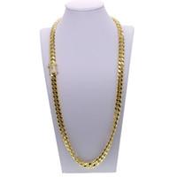 Wholesale gold filled cuban chains for men resale online - Hip hop cuban chain necklace with cz paved clasp for men jewelry with gold filled long chain cuban necklace mens jewelry