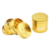 Wholesale grinder herbal - Gold Herb Grinder 40*36mm 4 Piece Herbal Alloy Smoke Metal Smoking Herbal Smoking Grinders Cracker OOA4693
