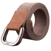 брюки с двойными ремнями оптовых-Unisex Canvas Belt  Washed Alloy Double Buckle Canvas Belt Casual Fashion Men Cowboy Pants Women Man Belt
