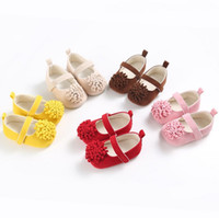 Wholesale baby shoes years for sale - Fashion infants newborn girl anti slip shoes Years newly born infant baby girls first walkers kids baby flower shoes