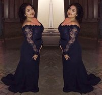 Wholesale Long Evening Gowns For Wedding - 2017 sexy elegant plus size long sleeves mother of the bride black girl African lace fabric evening gowns for wedding party guest dresses