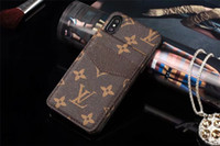 tarjetero de carcasa dura iphone al por mayor-Para el iPhone X XS Max XR 8 7 Plus Funda de cuero de lujo para teléfonos de diseño para Samsung S10 S9 S8 Note8 9 Marca con soporte de tarjeta cubierta trasera dura