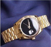 роскошные часы с бриллиантами оптовых-Люксовый Бренд Золотой Президент День Дата Часы Мужчины Из Нержавеющей Перламутра Циферблат Бриллиантовая Рамка Автоматические Наручные Часы AAA Часы Полный Логотип