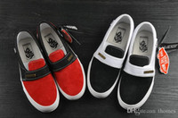 Wholesale x lover - 2018 Fear of God x Vans Sneakers Women Men Low Cut Era Casual Shoes Fashion Red Black lovers Canvas Designer Brand Sneakers 35-44