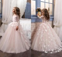Wholesale Lace Butterfly Wedding Dress - Lovely 2018 New Arrival Lace Flower Girl's Dresses Long Illusion Sleeves Jewel Neck Ball Gown Handmade Butterflies Girl's Pageant Dresses