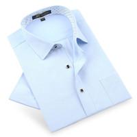 polka dot collar shirt toptan satış-Yaz Yeni 2018 Erkek Keten Pamuk Kısa Kollu Gömlek Nefes Yumuşak Polka Dot Yaka Sosyal Akıllı Rahat Erkekler Elbise Gömlek