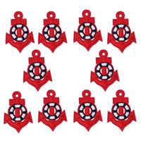 anker-eisen-patches großhandel-10 Stück rote Anker Stickerei Patches für Kleidung Taschen Eisen auf Transfer Applique Patch für Kleidungsstück Jeans DIY Nähen auf Stickerei Abzeichen