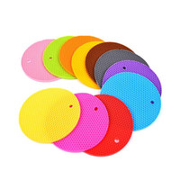 Wholesale chinese coasters resale online - Hot sale round silicone dinner pad Insulation pad Household kitchen supplies Non slip mat waterproof coaster T3I0076
