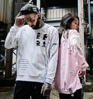 Wholesale white sweatshirt swag - Fashion Zipper Ribbon Hoodies Inked Graffiti Printed Pullover Sweatshirts Black White Long Sleeve Hip Hop Skateboards Swag Hoodies M-2XL
