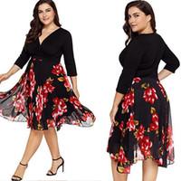 kırmızı askısız kısa tül elbise toptan satış-Boyutu 42-50 kadın V Yaka Şifon Elbise Çiçek Abiye Kokteyl Balo Şifon Kleid Blumen Abendkleid Kokteyl Ballkleid