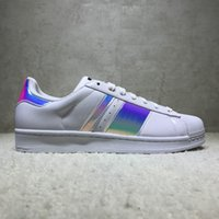 Wholesale punk fabrics - 2018 Superstars Mans & Women's Shoes Smith Classic White Skate Shoes Genuine Leather Gold Black Running Shoes