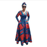 Wholesale polka dot robes for sale - african traditional dress for women printing robe africaine dashiki african clothing bazin rich clothes kaftan dresses