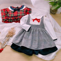 Wholesale uk dresses - UK style kids girls clothing exquisite pet pan collar fake two piece plaid patchwork dress elegant princess dress spring fall girls dresses