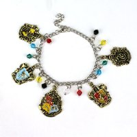 pulsera de bronce antiguo al por mayor-Hogwarts School Gryffindor Slytherin Ravenclaw Hufflepuff Badge Bracelet Cuffs Ancient Bronze Collection Fashion Jewelry Gift DropShip