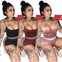 roupas de festa venda por atacado-Party Clubwear Mulheres Treino Sexy Two Piece Conjuntos de Verão Colheita Top e Shorts Terno de Pista Ocasional 2 Peça Outfits